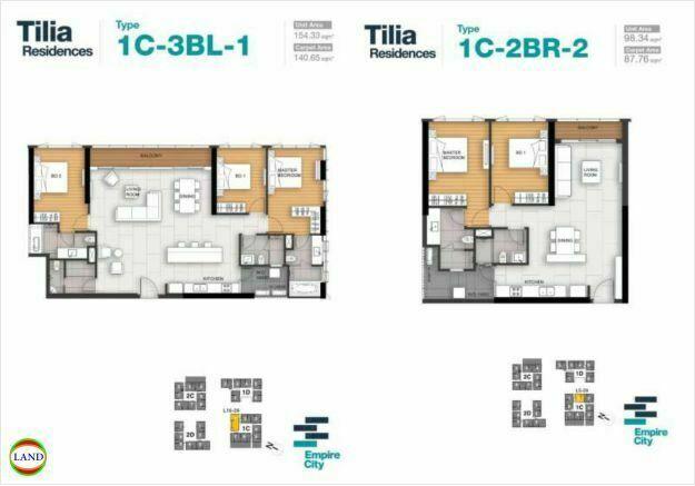 Mặt bằng căn hộ 1,2 tháp 1CTilia Residence - MU7 Empire city