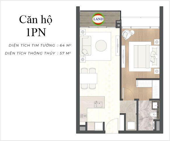 layout căn hộ 1 phòng ngủ The River