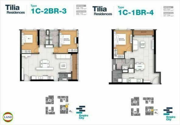 Mặt bằng căn hộ 3,4 tháp 1CTilia Residence - MU7 Empire city