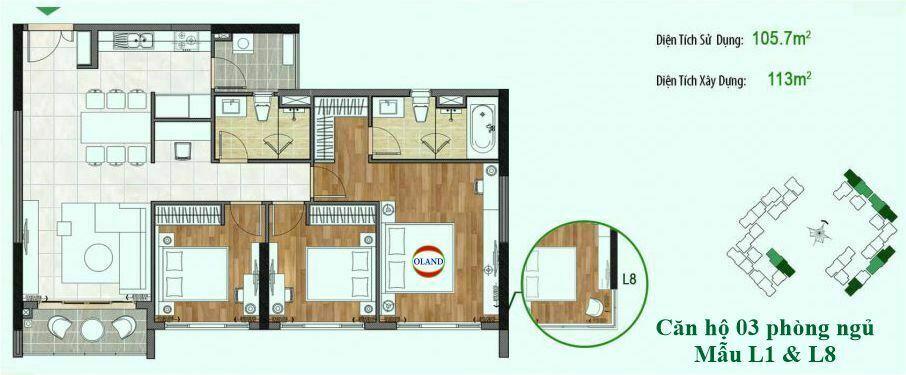 Căn hộ 3 phòng ngủ mẫu L1 & L8 - Sadora Sala