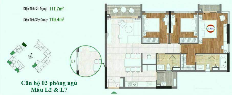 Căn hộ 3 phòng ngủ mẫu L2 & L7 - Sadora Sala