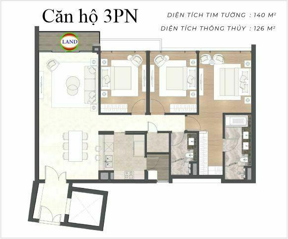 layout căn hộ 3 phòng ngủ The River