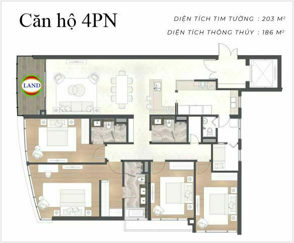 layout căn hộ 4 phòng ngủ The River