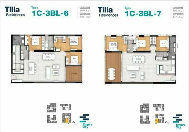 Mặt bằng căn hộ 6,7 tháp 1CTilia Residence - MU7 Empire city