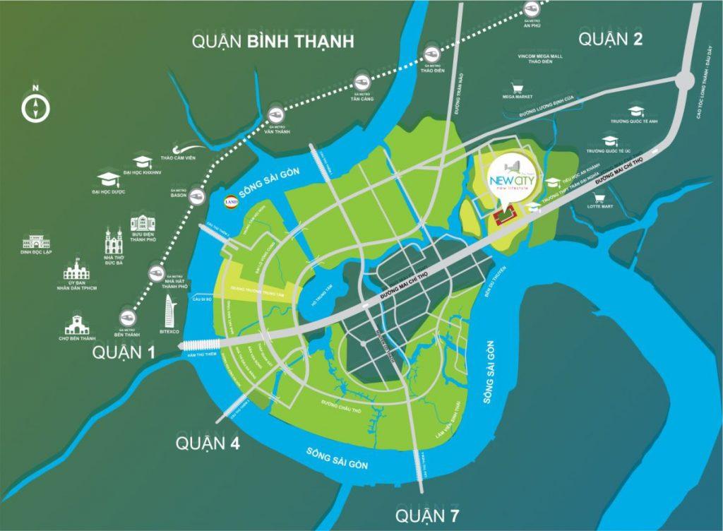 Địa chỉ New City Thủ Thiêm: 17 Mai Chí Thọ, quận 2