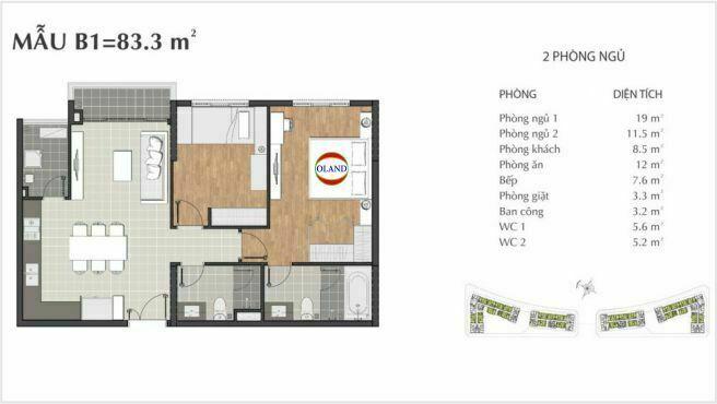 Layout căn hộ 2 phòng ngủ mẫu B1 - Sarimi Sala
