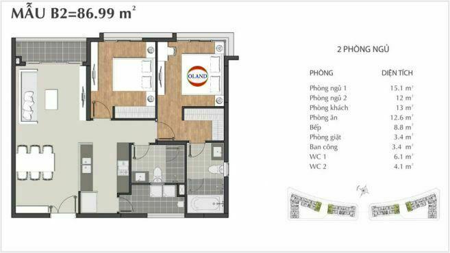 Layout căn hộ 2 phòng ngủ mẫu B2 - Sarimi Sala