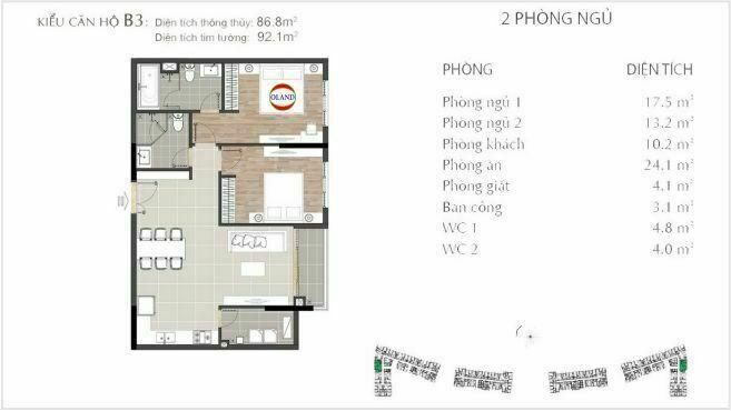 Layout căn hộ 2 phòng ngủ mẫu B3 - Sarimi Sala