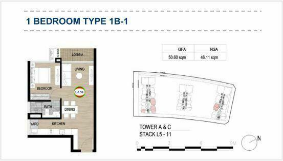 Mặt bằng (layout) 1PN - mẫu 1 - The Galleria Residence - The Metropole Thủ Thiêm