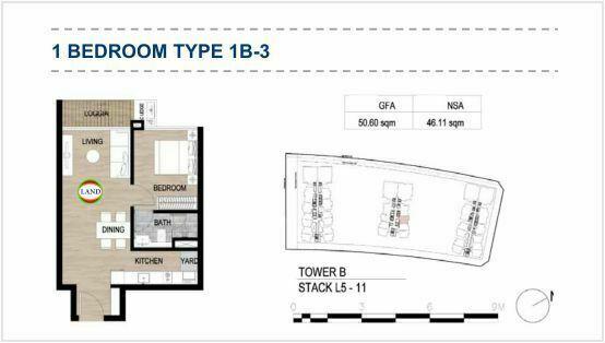 Mặt bằng (layout) 1PN - mẫu 4 - The Galleria Residence - The Metropole Thủ Thiêm