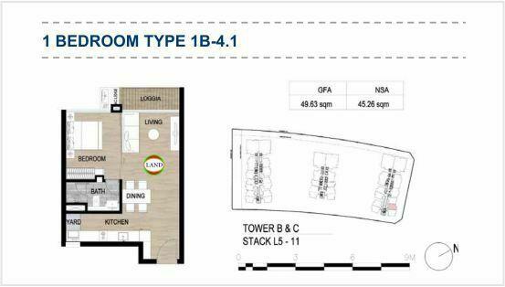 Mặt bằng (layout) 1PN - mẫu 6 - The Galleria Residence - The Metropole Thủ Thiêm