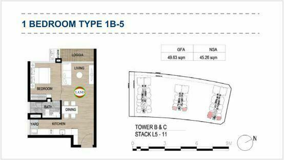 Mặt bằng (layout) 1PN - mẫu 7 - The Galleria Residence - The Metropole Thủ Thiêm