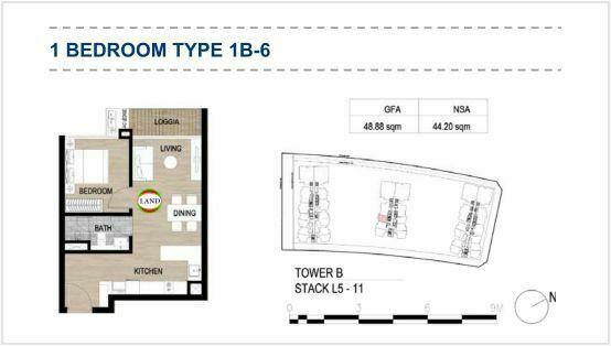 Mặt bằng (layout) 1PN - mẫu 8 - The Galleria Residence - The Metropole Thủ Thiêm