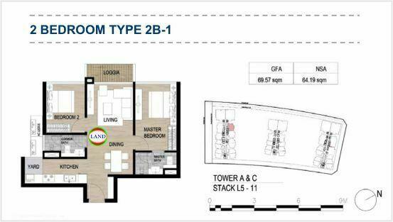 Mặt bằng (layout) 2PN - mẫu 1 - The Galleria Residence - The Metropole Thủ Thiêm