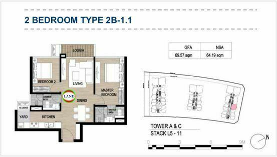 Mặt bằng (layout) 2PN - mẫu 2 - The Galleria Residence - The Metropole Thủ Thiêm