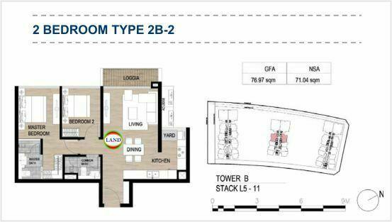 Mặt bằng (layout) 2PN - mẫu 3 - The Galleria Residence - The Metropole Thủ Thiêm