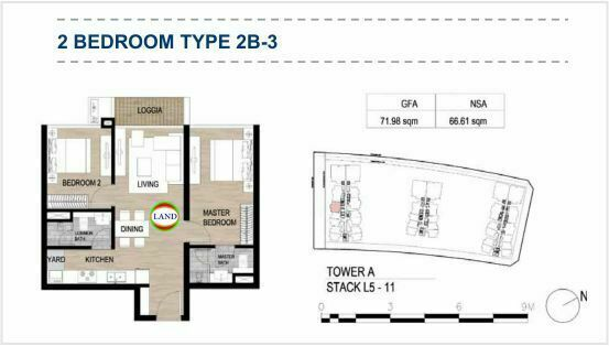 Mặt bằng (layout) 2PN - mẫu 4 - The Galleria Residence - The Metropole Thủ Thiêm