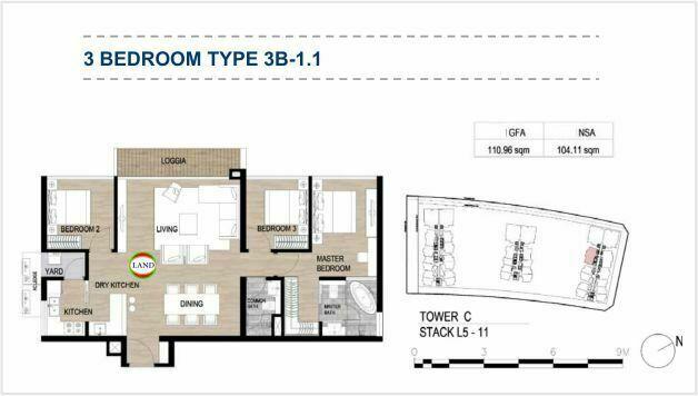 Mặt bằng (layout) 3PN - mẫu 2 - The Galleria Residence - The Metropole Thủ Thiêm