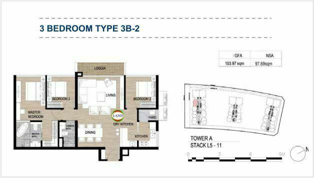 Mặt bằng (layout) 3PN - mẫu 3 - The Galleria Residence - The Metropole Thủ Thiêm