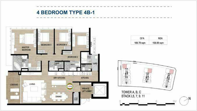 Mặt bằng (layout) 4PN - mẫu 1 - The Galleria Residence - The Metropole Thủ Thiêm