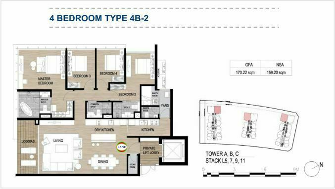Mặt bằng (layout) 4PN - mẫu 2 - The Galleria Residence - The Metropole Thủ Thiêm