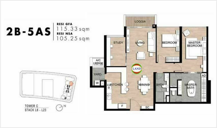 Mặt bằng Căn hộ lofthouse 2 phòng ngủ mẫu 8 The Crest Residence