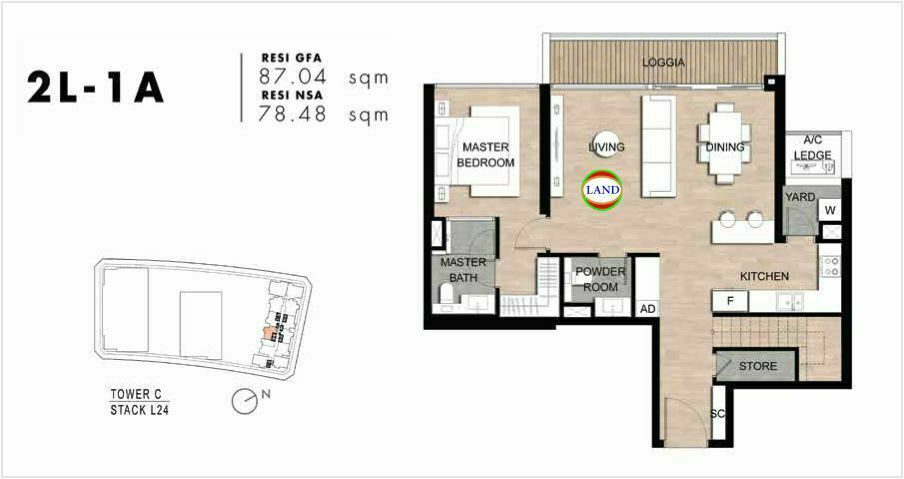 Mặt bằng Căn hộ lofthouse 2 phòng ngủ mẫu 1 The Crest Residence