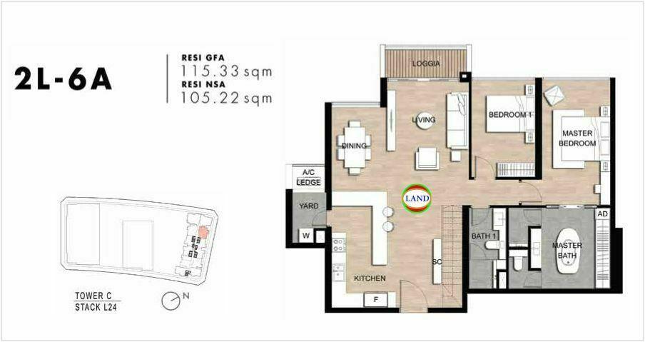 Mặt bằng Căn hộ lofthouse 2 phòng ngủ mẫu 10 The Crest Residence