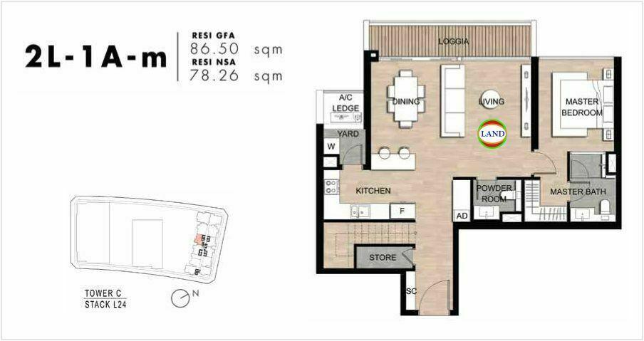 Mặt bằng Căn hộ lofthouse 2 phòng ngủ mẫu 2 The Crest Residence