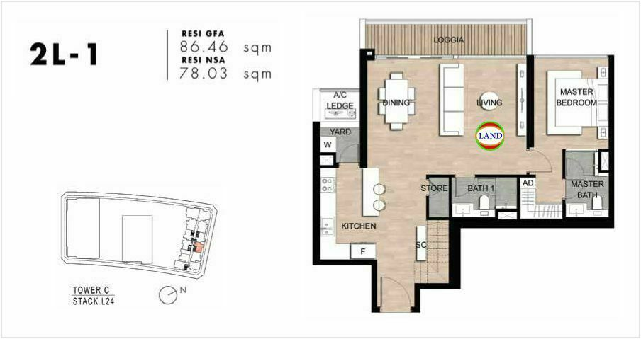 Mặt bằng Căn hộ lofthouse 2 phòng ngủ mẫu 3 The Crest Residence