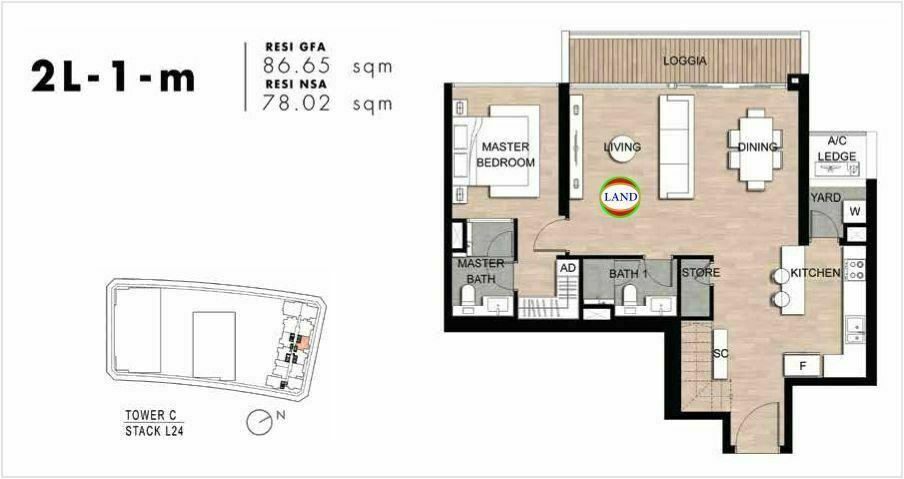 Mặt bằng Căn hộ lofthouse 2 phòng ngủ mẫu 4 The Crest Residence