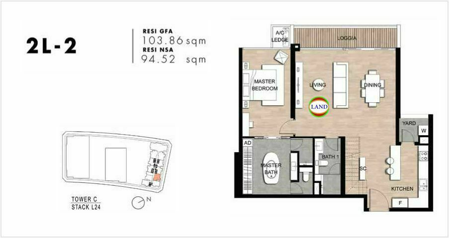 Mặt bằng Căn hộ lofthouse 2 phòng ngủ mẫu 5 The Crest Residence