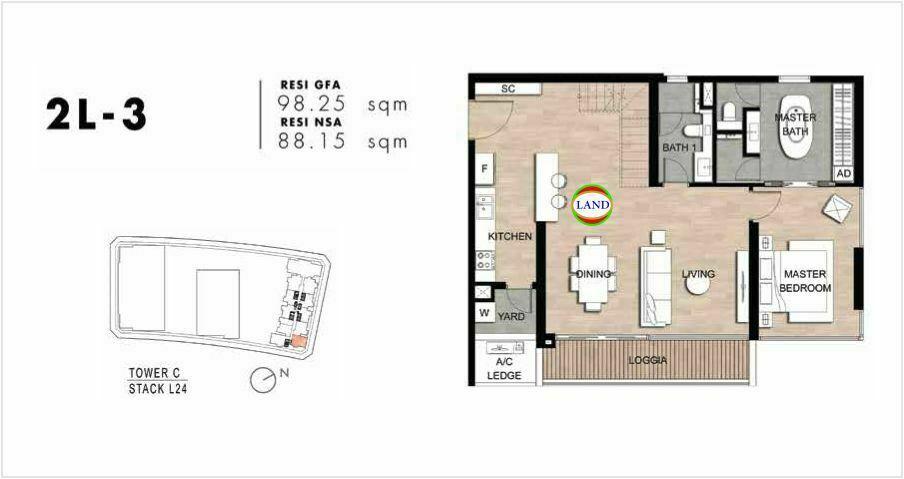 Mặt bằng Căn hộ lofthouse 2 phòng ngủ mẫu 6 The Crest Residence