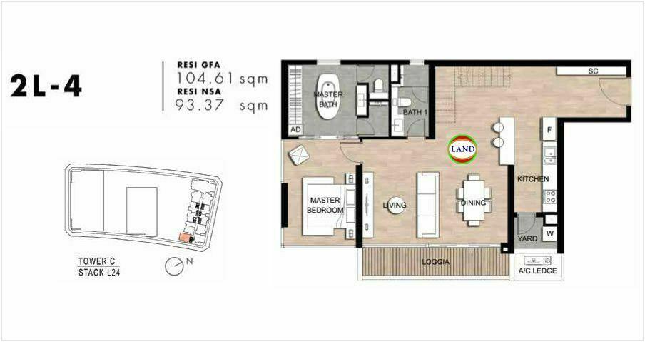 Mặt bằng Căn hộ lofthouse 2 phòng ngủ mẫu 7 The Crest Residence