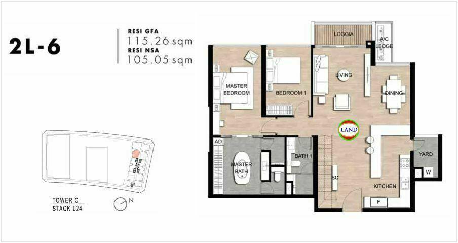 Mặt bằng Căn hộ lofthouse 2 phòng ngủ mẫu 9 The Crest Residence