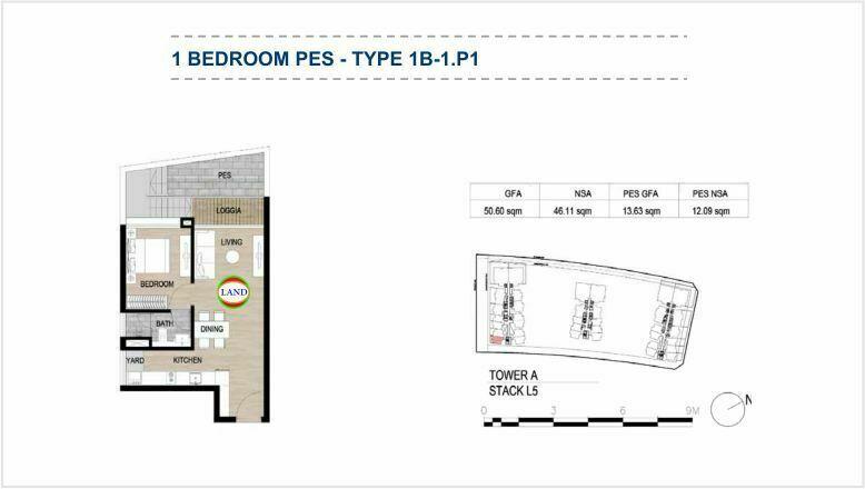Mặt bằng (layout) căn hộ sân vườn - 1PN - mẫu 1 - The Galleria Residence - The Metropole Thủ Thiêm