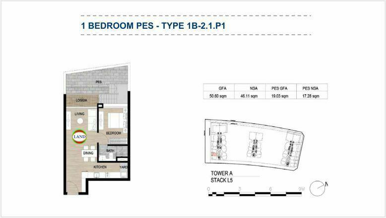 Mặt bằng (layout) căn hộ sân vườn - 1PN - mẫu 2 - The Galleria Residence - The Metropole Thủ Thiêm