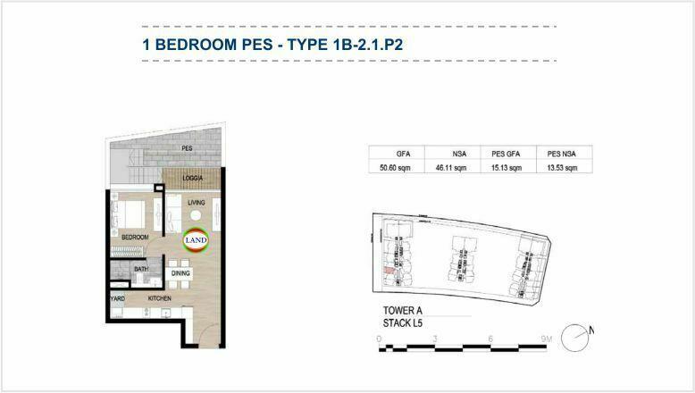 Mặt bằng (layout) căn hộ sân vườn - 1PN - mẫu 3 - The Galleria Residence - The Metropole Thủ Thiêm