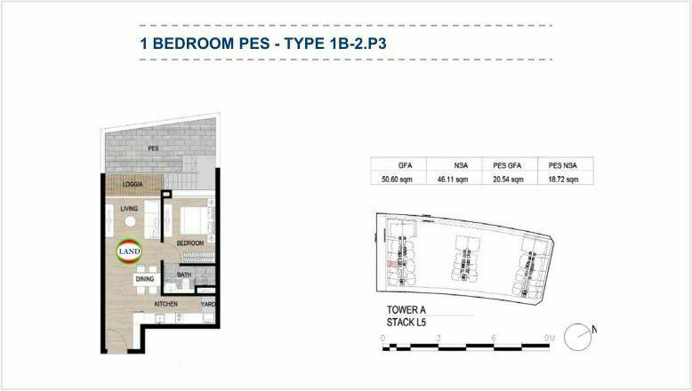 Mặt bằng (layout) căn hộ sân vườn - 1PN - mẫu 4 - The Galleria Residence - The Metropole Thủ Thiêm