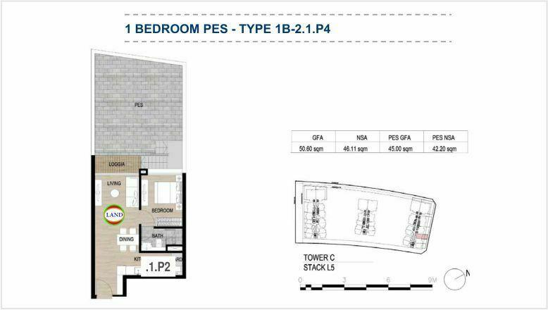 Mặt bằng (layout) căn hộ sân vườn - 1PN - mẫu 5 - The Galleria Residence - The Metropole Thủ Thiêm