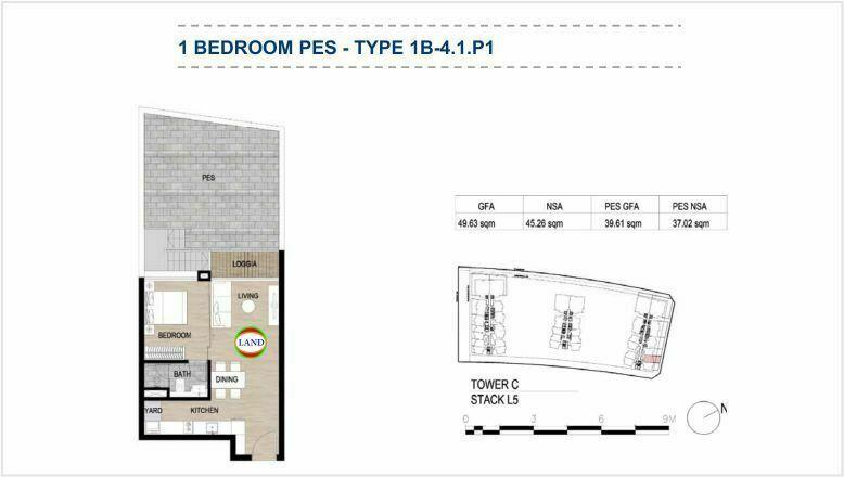 Mặt bằng (layout) căn hộ sân vườn - 1PN - mẫu 6 - The Galleria Residence - The Metropole Thủ Thiêm