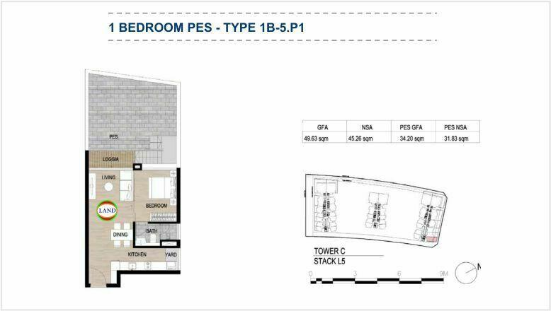 Mặt bằng (layout) căn hộ sân vườn - 1PN - mẫu 7 - The Galleria Residence - The Metropole Thủ Thiêm