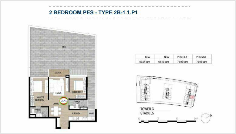 Mặt bằng (layout) căn hộ sân vườn - 2PN - mẫu 1 - The Galleria Residence - The Metropole Thủ Thiêm