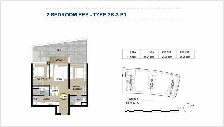 Mặt bằng (layout) căn hộ sân vườn - 2PN - mẫu 2 - The Galleria Residence - The Metropole Thủ Thiêm