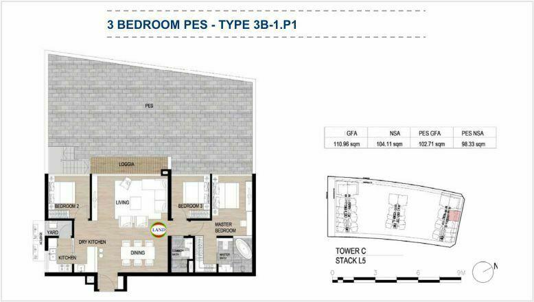 Mặt bằng (layout) căn hộ sân vườn - 3PN - mẫu 1 - The Galleria Residence - The Metropole Thủ Thiêm