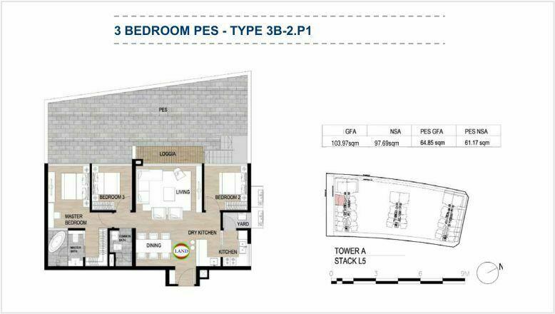 Mặt bằng (layout) căn hộ sân vườn - 3PN - mẫu 2 - The Galleria Residence - The Metropole Thủ Thiêm