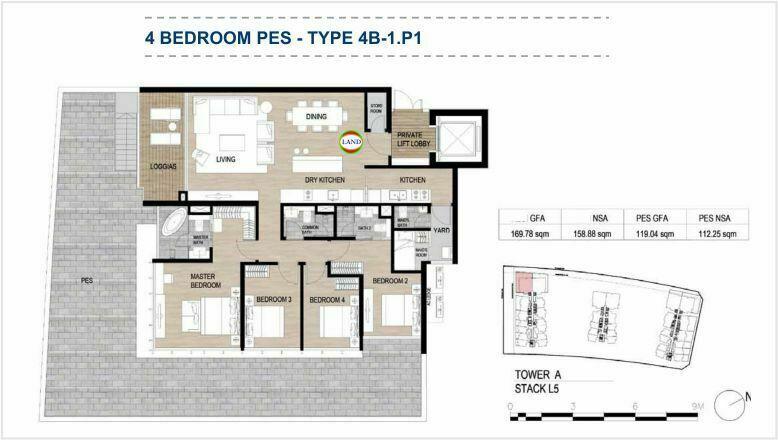 Mặt bằng (layout) căn hộ sân vườn - 4PN - mẫu 1 - The Galleria Residence - The Metropole Thủ Thiêm 1