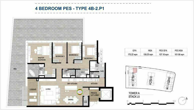 Mặt bằng (layout) căn hộ sân vườn - 4PN - mẫu 2 - The Galleria Residence - The Metropole Thủ Thiêm 1