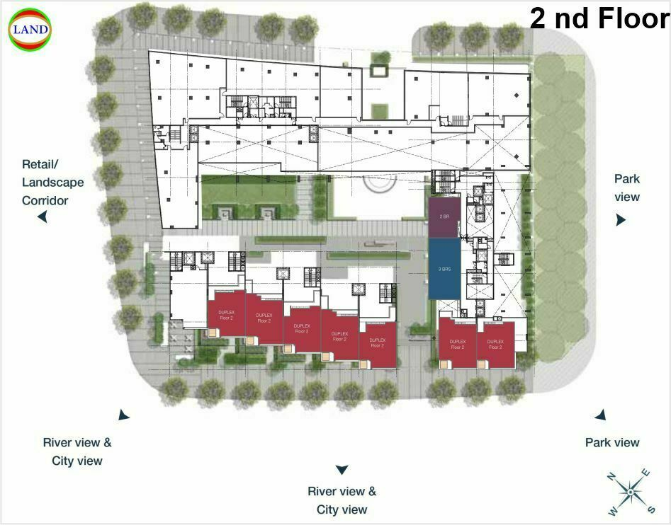 Mặt bằng duplex tầng 2 Cove Residence - MU11 Empire City