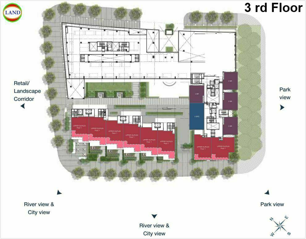 Mặt bằng duplex tầng 3 Cove Residence - MU11 Empire City